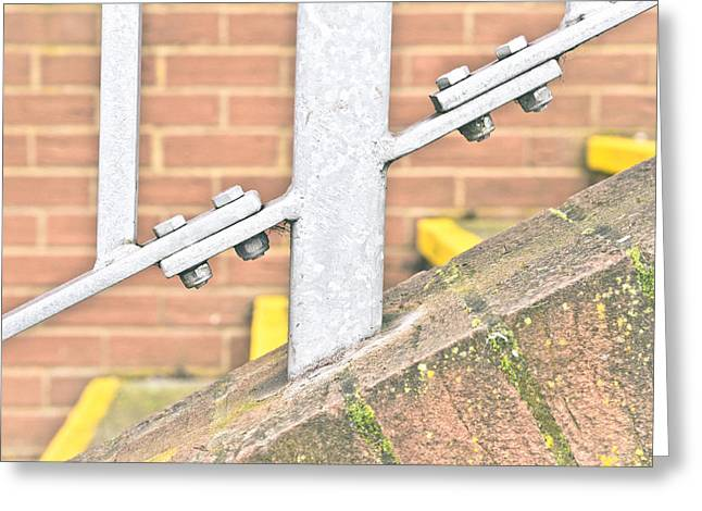Stepping Stones Greeting Cards - Metal railings Greeting Card by Tom Gowanlock