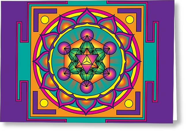 Festival Of Peace Greeting Cards - Metatrons Cube Merkaba Mandala Greeting Card by Galactic  Mantra