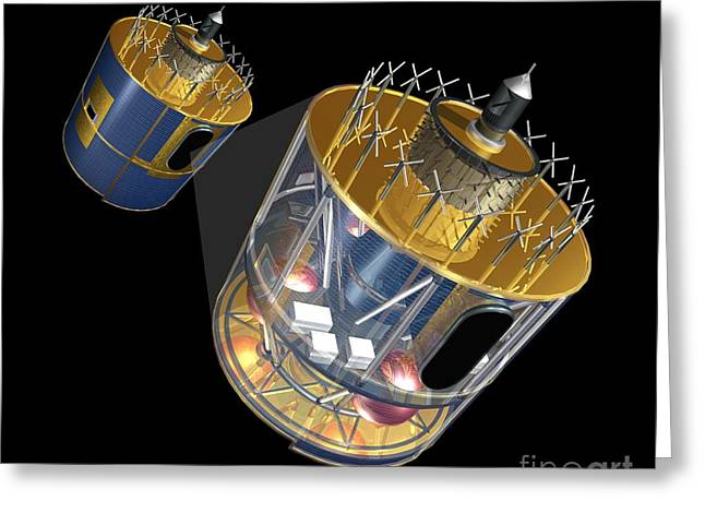 Component Photographs Greeting Cards - Meteosat Weather Satellite, Artwork Greeting Card by Carlos Clarivan