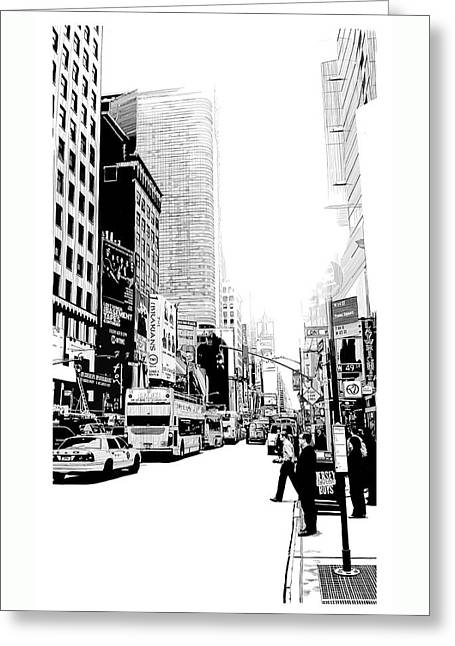 Midtown Drawings Greeting Cards - Metro Greeting Card by Robin DaSilva