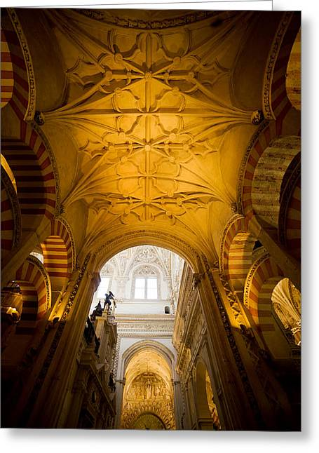 Mezquita Greeting Cards - Mezquita Cathedral Interior in Cordoba Greeting Card by Artur Bogacki