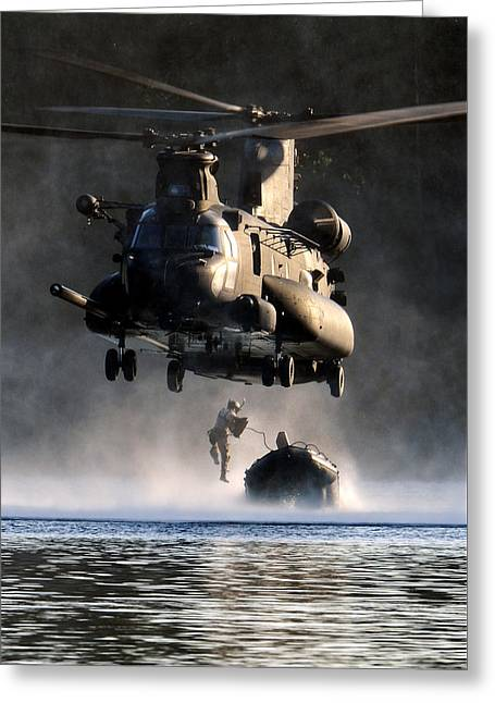Navy Seals Greeting Cards - MH-47 Chinook helicopter Greeting Card by Celestial Images