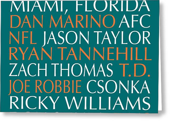 Miami Dolphins Greeting Card by Jaime Friedman