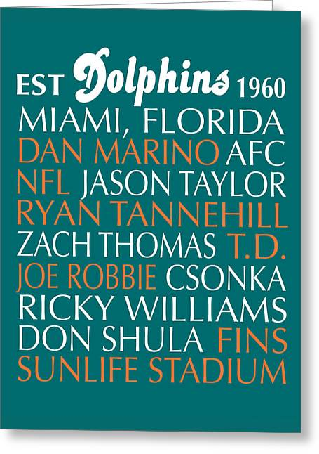 Football Words Greeting Cards - Miami Dolphins Greeting Card by Jaime Friedman