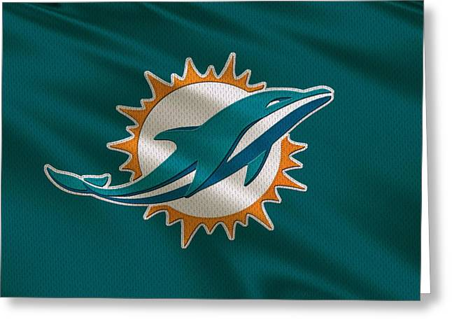 Miami Dolphins Greeting Cards - Miami Dolphins Uniform Greeting Card by Joe Hamilton