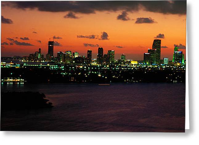 Brightly Lit Greeting Cards - Miami, Florida, Usa Greeting Card by Panoramic Images