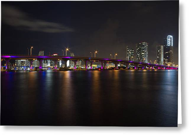 Panorama Greeting Cards - Miami Night Skyline Greeting Card by Andres Leon