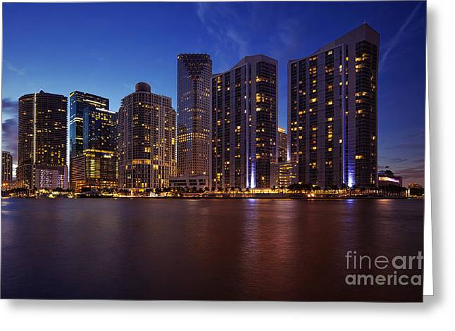 Ddmitr Greeting Cards - Miami Skyline Greeting Card by Dmitry Chernomazov