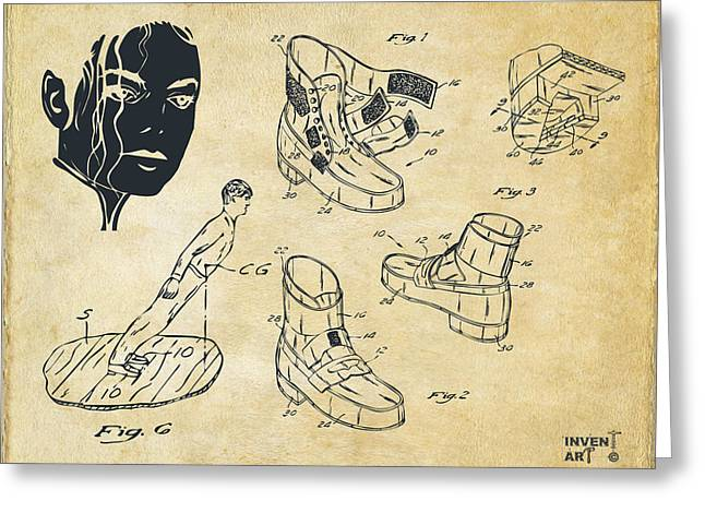 Smooth Criminal Greeting Cards - Michael Jackson Anti-Gravity Shoe Patent Artwork Vintage Greeting Card by Nikki Marie Smith