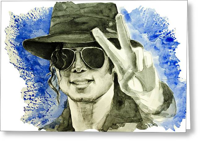 King Of Pop Drawings Greeting Cards - Michael Jackson Greeting Card by MB Art factory
