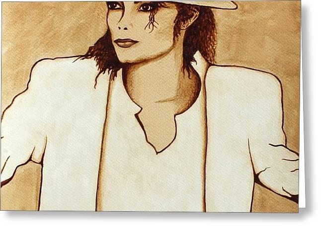 Michael Jackson original coffee painting Greeting Card by Georgeta  Blanaru