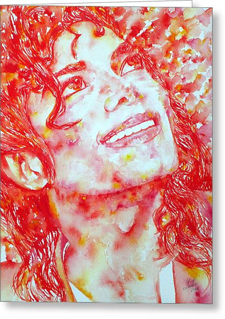 Bad Drawing Greeting Cards - MICHAEL JACKSON - watercolor portrait.2 Greeting Card by Fabrizio Cassetta