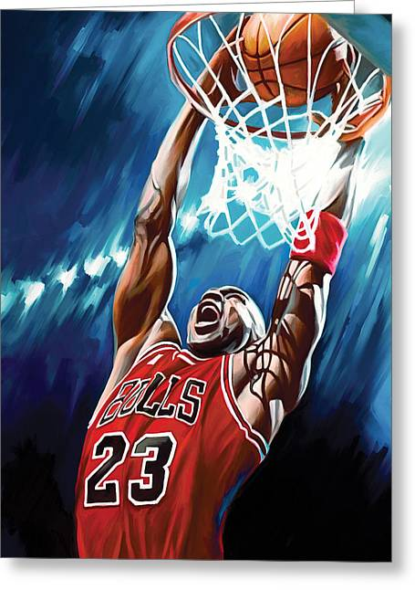 Nba Basketball Greeting Cards - Michael Jordan Artwork Greeting Card by Sheraz A