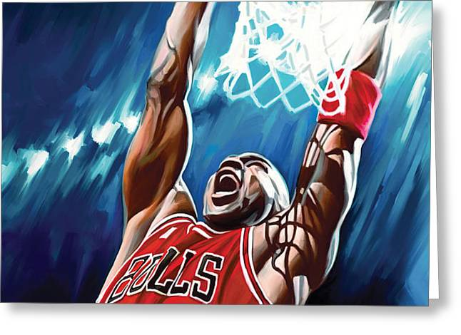 Michael Jordan Artwork Greeting Card by Sheraz A