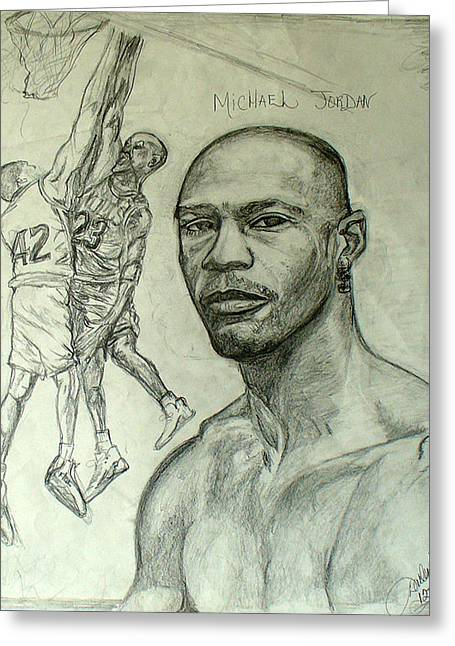 Jordan Drawings Greeting Cards - Michael Jordan Greeting Card by Darlene Ricks- Parker