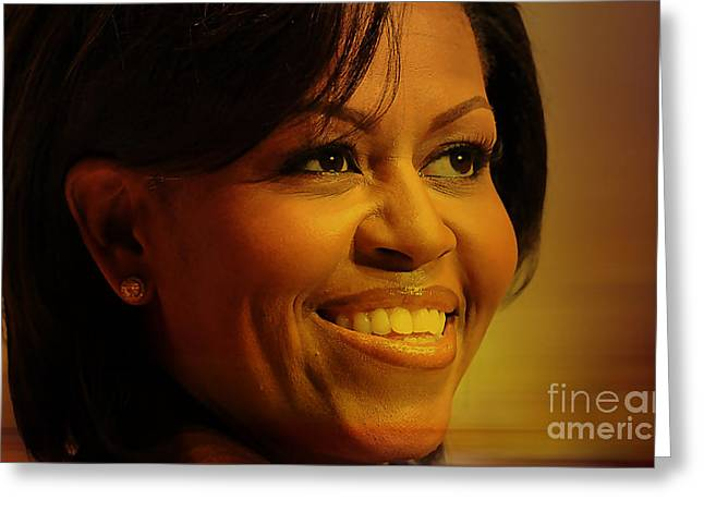 First Lady Mixed Media Greeting Cards - Michelle Obama Greeting Card by Marvin Blaine