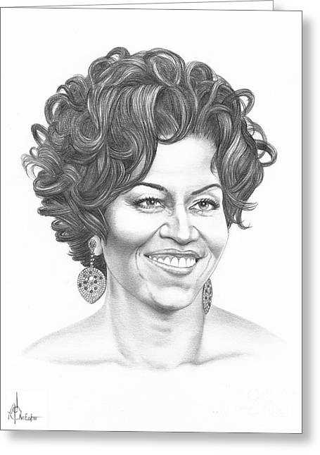 Michelle Obama Drawings Greeting Cards - Michelle Obama Greeting Card by Murphy Elliott