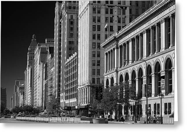 Historic Architecture Photographs Greeting Cards - Michigan Avenue Chicago B W Greeting Card by Steve Gadomski