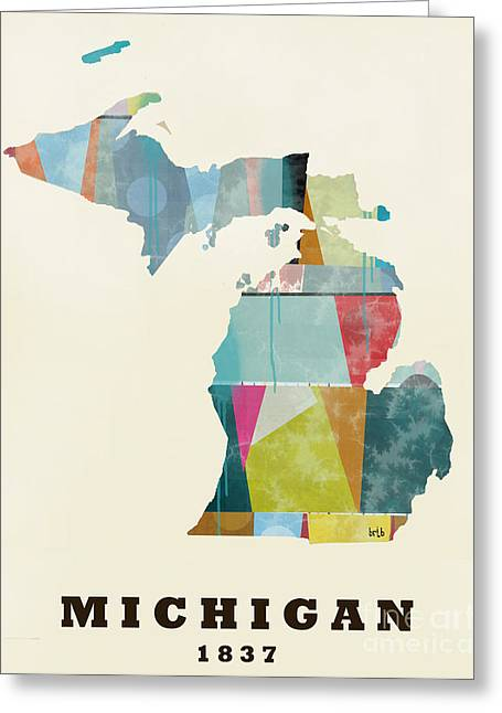 World Map Print Paintings Greeting Cards - Michigan State Map Modern Greeting Card by Bri Buckley