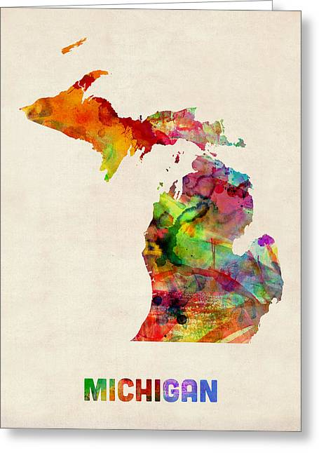 Us Map Greeting Cards - Michigan Watercolor Map Greeting Card by Michael Tompsett