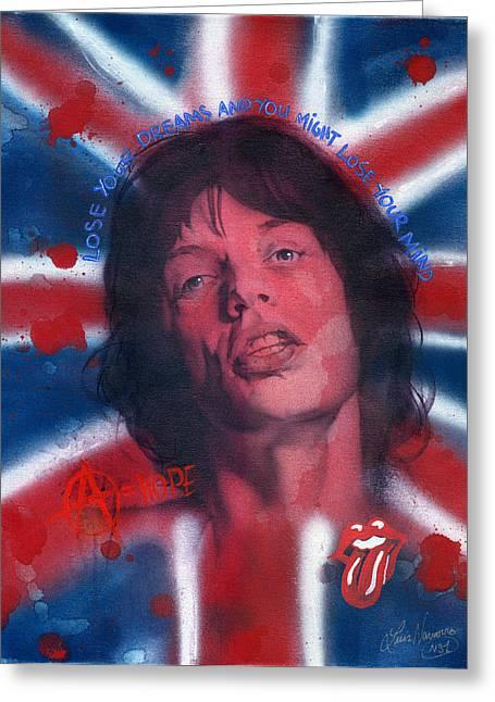 Mick Jagger Paintings Greeting Cards - Mick Jagger Greeting Card by Luis  Navarro