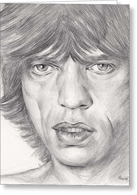 Original Robert Plant Paintings Greeting Cards - Mick Jagger Greeting Card by Marina Sotiriou