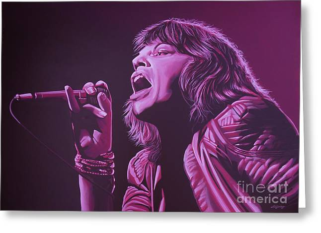 The Rolling Stones Art Work Greeting Cards - Mick Jagger Greeting Card by Paul  Meijering