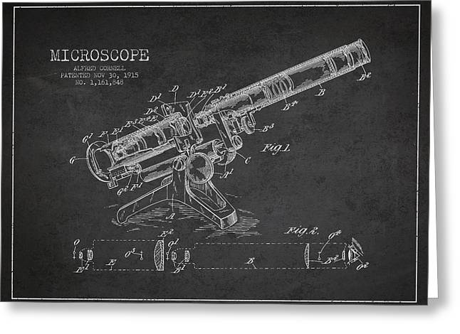 Glass Wall Greeting Cards - Microscope Patent Drawing from 1915 Greeting Card by Aged Pixel