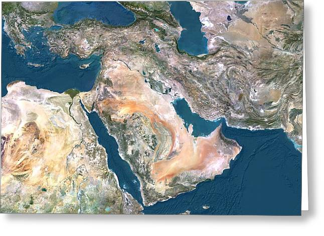 Northern Africa Greeting Cards - Middle East, satellite image Greeting Card by Science Photo Library