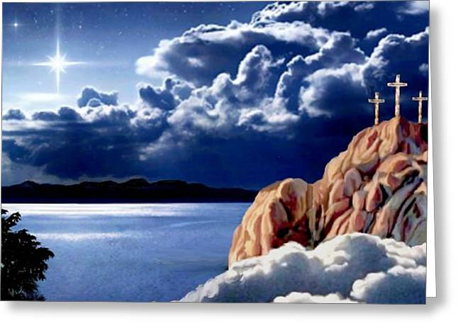 Cross On The Grave Greeting Cards - Midnight at Calvary II Greeting Card by Ronald Chambers