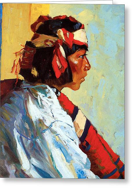 Indian Warriors Photographs Greeting Cards - Miguel of Tesuque Greeting Card by Robert Henri