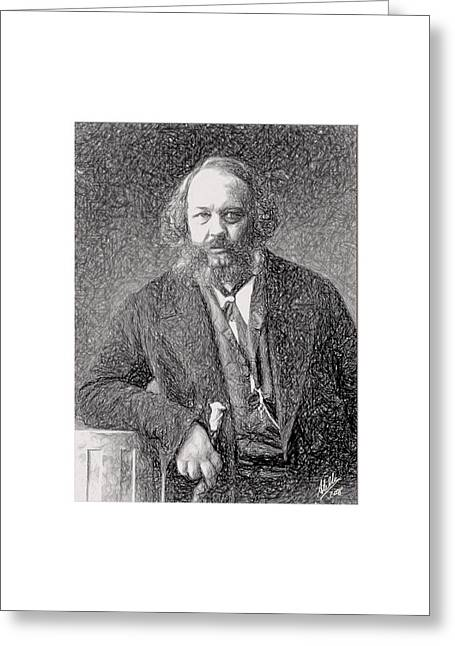 Political Drawings Greeting Cards - Portrait of Mijail Bakunin  Greeting Card by Joaquin Abella