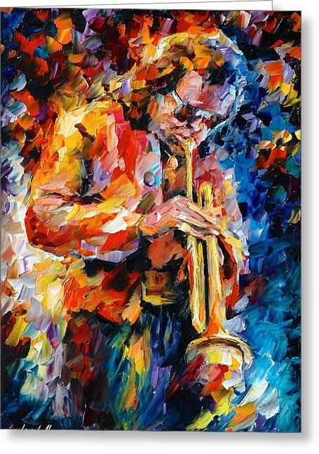 Certificates Greeting Cards - Miles Davis Greeting Card by Leonid Afremov