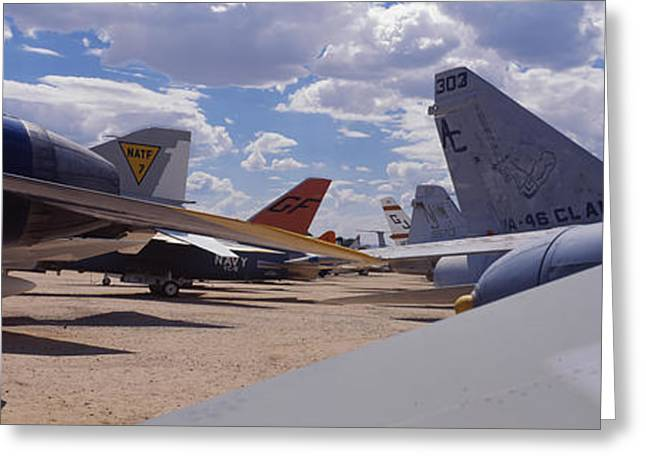 Military Airplanes Photographs Greeting Cards - Military Airplanes At Davismonthan Air Greeting Card by Panoramic Images