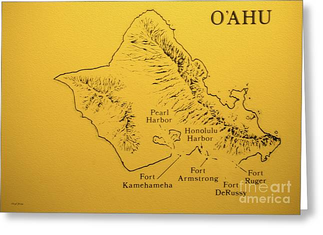Kamehameha Greeting Cards - Military Fort Map Oahu Greeting Card by Cheryl Young