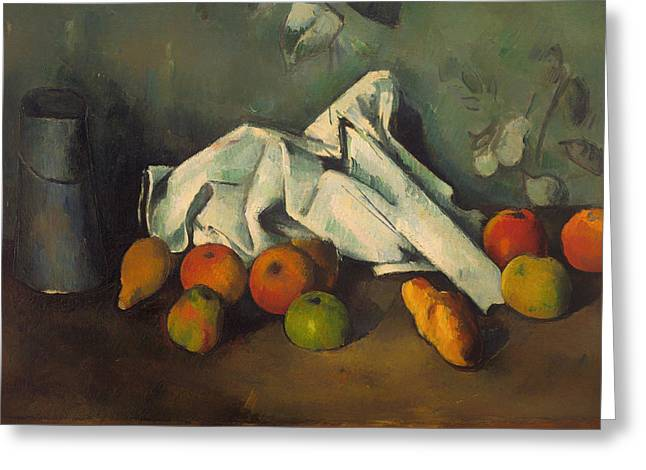 Indoor Still Life Paintings Greeting Cards - Milk Can and Apples Greeting Card by Paul Cezanne