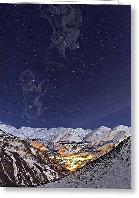 Snowy Night Night Greeting Cards - Milky Way over the Alborz Mountains, Greeting Card by Science Photo Library