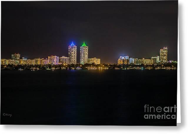 Millionaire's Row Miami Beach Skyline Greeting Card by Rene Triay Photography