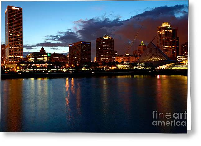 Northwestern Us Greeting Cards - Milwaukee Skyline at Dusk Greeting Card by Bill Cobb