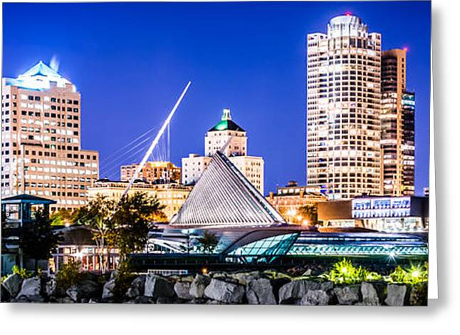 High Resolution Greeting Cards - Milwaukee Skyline at Night Photo in Blue Greeting Card by Paul Velgos