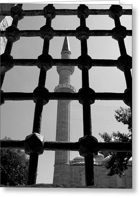 Istanbul Pyrography Greeting Cards - Minaret Greeting Card by Ernesto Cinquepalmi