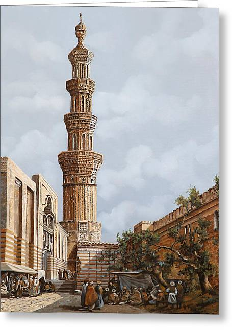 Arabia Greeting Cards - Minareto E Mercato Greeting Card by Guido Borelli
