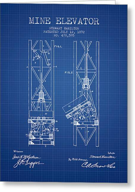 Mine Greeting Cards - Mine Elevator Patent from 1892 - Blueprint Greeting Card by Aged Pixel