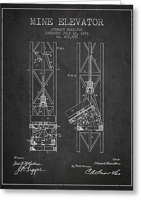 Mine Greeting Cards - Mine Elevator Patent from 1892 - Charcoal Greeting Card by Aged Pixel