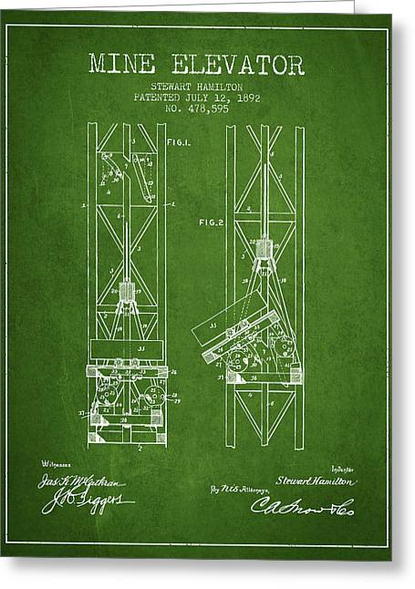 Mine Greeting Cards - Mine Elevator Patent from 1892 - Green Greeting Card by Aged Pixel