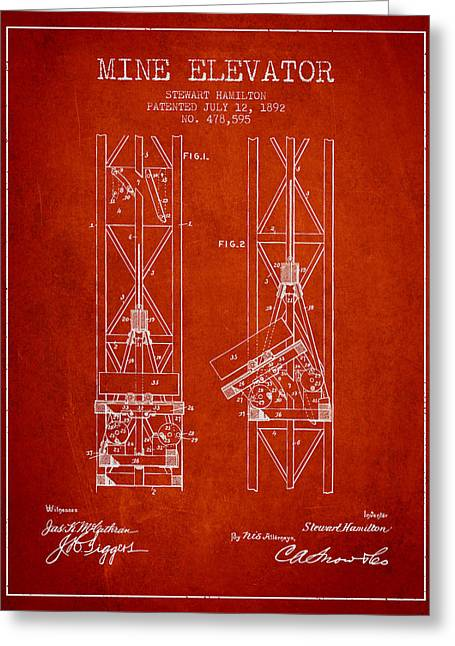 Mine Greeting Cards - Mine Elevator Patent from 1892 - Red Greeting Card by Aged Pixel