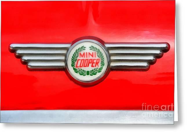 Car Mascot Paintings Greeting Cards - 1971 Mini Cooper Greeting Card by George Atsametakis