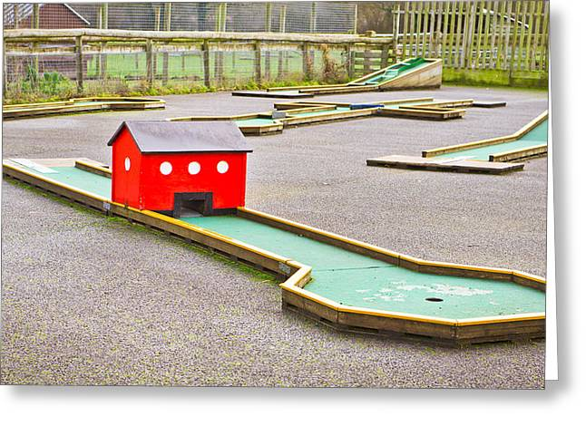 Amusement Greeting Cards - Mini golf Greeting Card by Tom Gowanlock