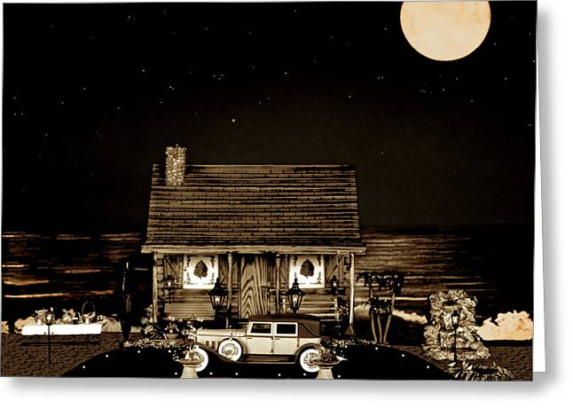 Log Cabins Greeting Cards - MINIATURE LOG CABIN SCENE WITH OLD VINTAGE CLASSIC 1930 Packard LaBaron in SEPIA COLOR Greeting Card by Leslie Crotty
