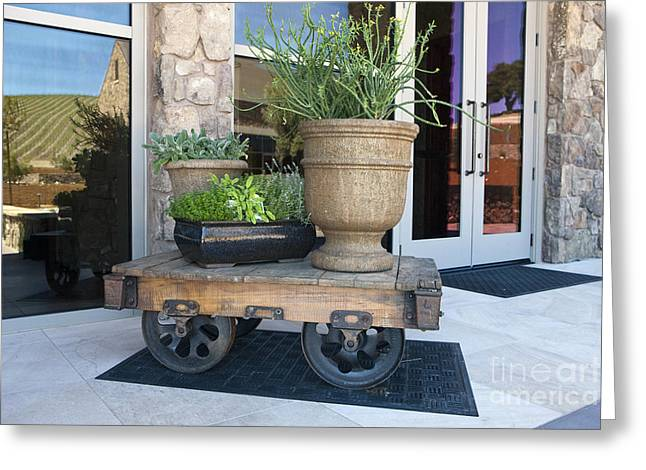 Wine Tour Greeting Cards - Mining railroad car planter table Greeting Card by Jason O Watson